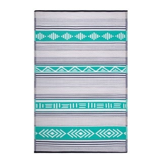 Fab Habitat Indoor/Outdoor Recycled Plastic Rug - Ibiza - Green Multi (5' x 8')