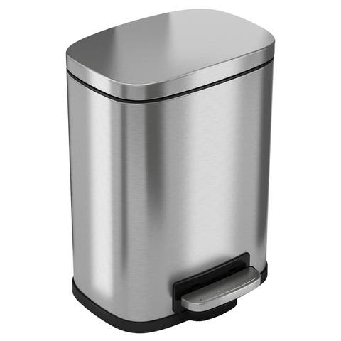Halo Premium Silvertone Step Stainless Steel Trash Can (1 Gallon or 8 Gallon)