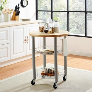 Avenue Greene Odilia Grey Round Kitchen Cart
