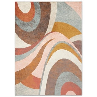 "Home Dynamix Tribeca Multi-colored Curves Area Rug (39"" X 55"")"