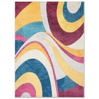 "Home Dynamix Tribeca Multi-colored Curves Area Rug (5'2"" X 7'2"")"