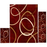 Home Dynamix Tribeca Multi-colored Abstract Circles 3-Piece Rug Set