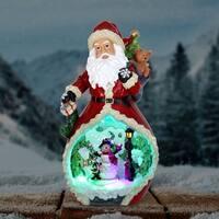 Santa Statue with Revolving Snowman Scene - Automatic Timer