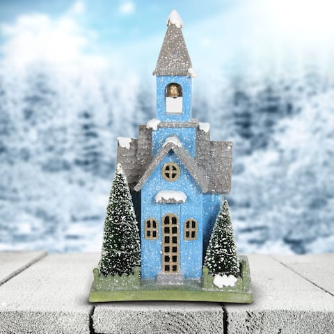 """10"""" LED Blue Church with Battery Operated Timer"""