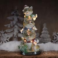 "15"" LED Foxes Totem Statue with Timer"