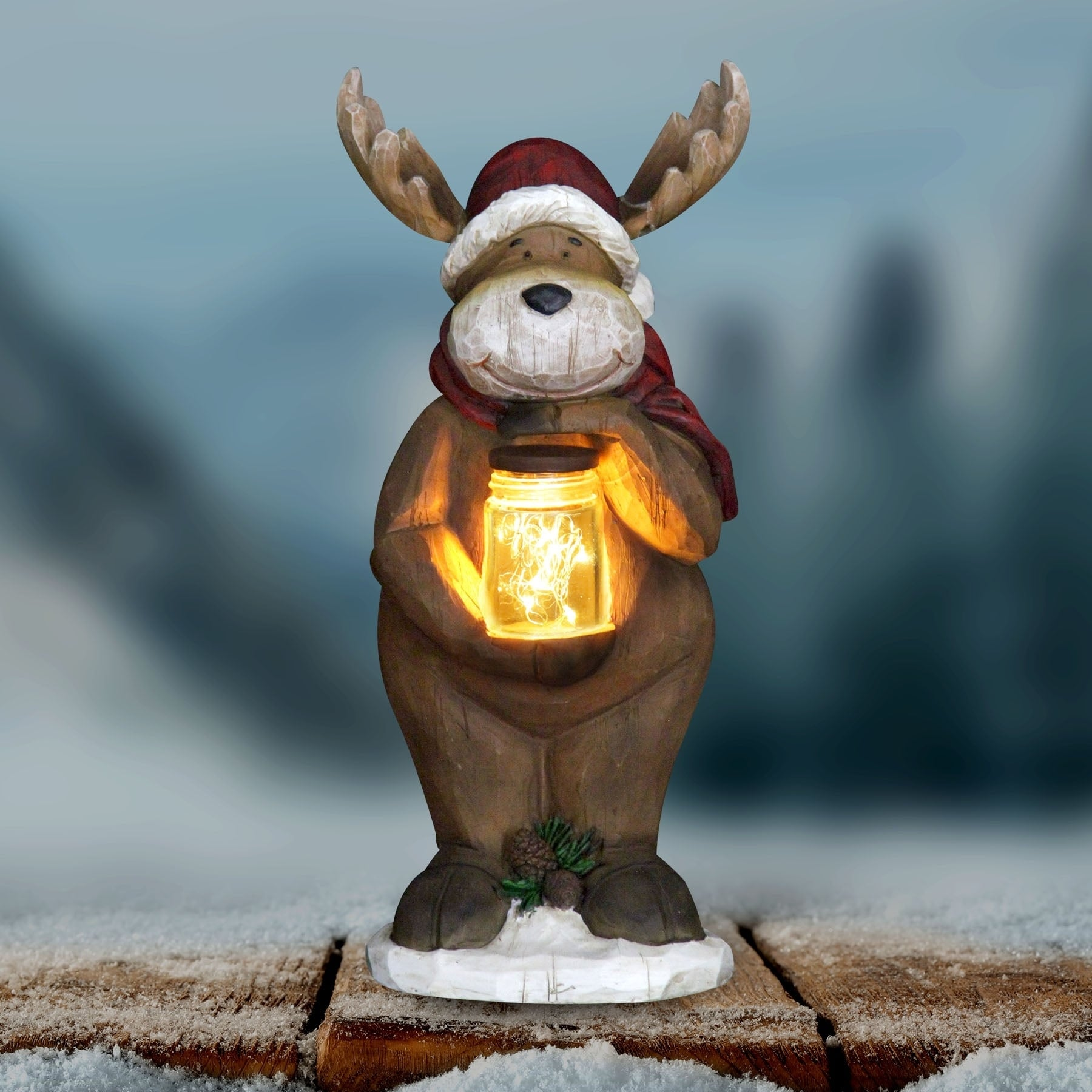 Exhart Reindeer Holding Jar of Fireflies with Timer