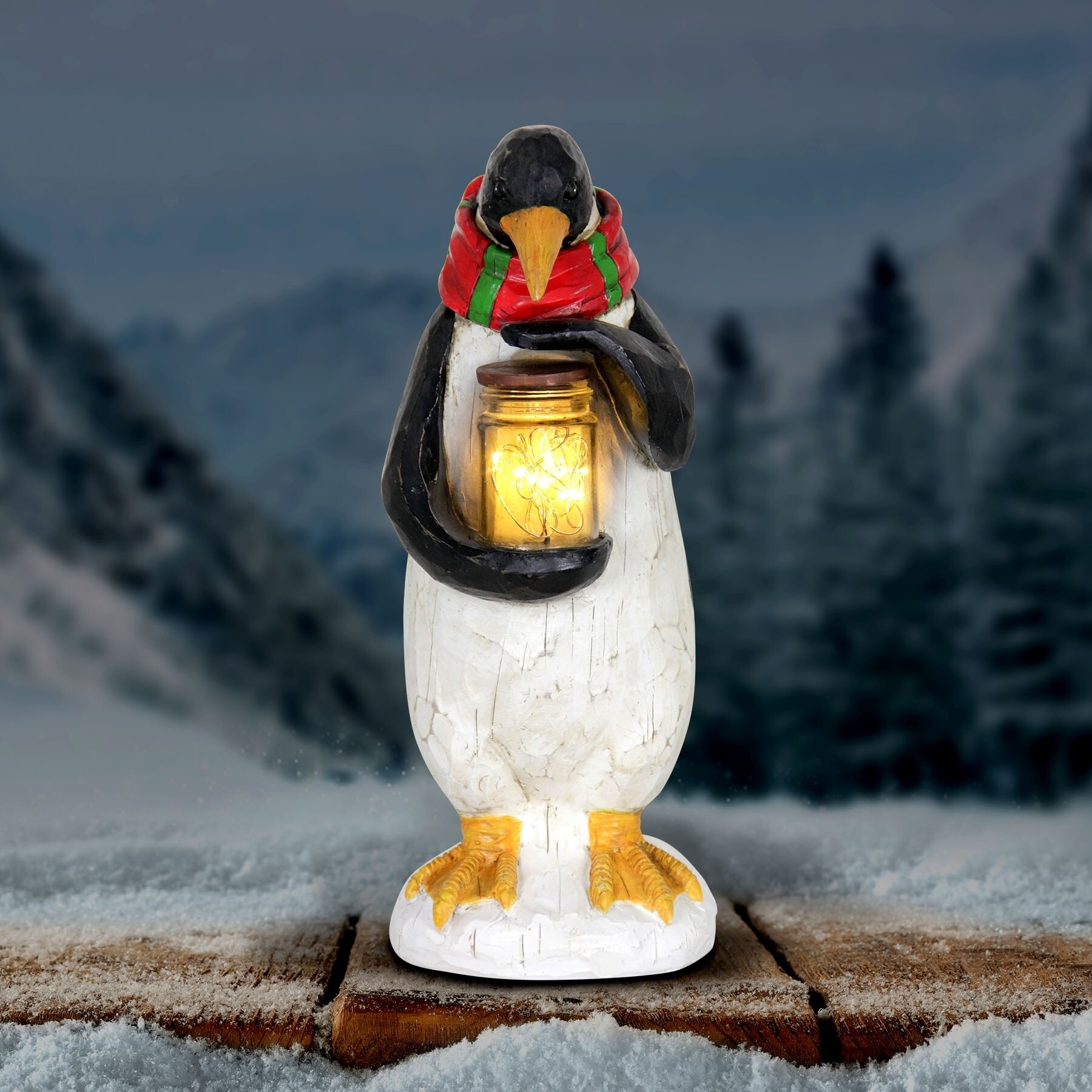Exhart Penguin Holding Jar of Fireflies with Timer