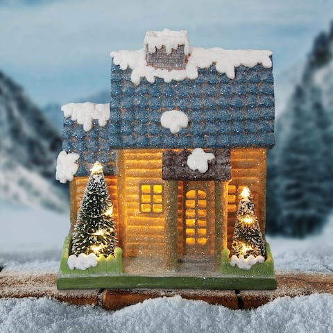 """9"""" LED Snowcapped Holiday House with battery operated timer"""
