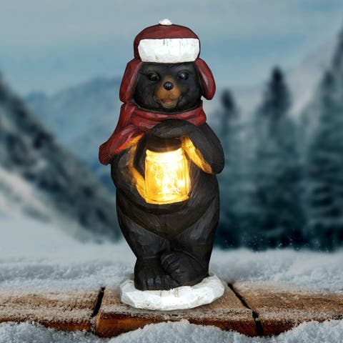 Bear Holding Jar of Fireflies with Timer
