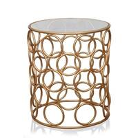Bubble side table gold with glass top