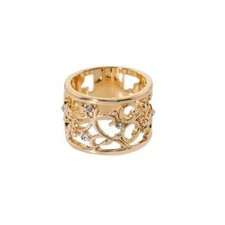 Eternally Haute Gold plated Open Filigree Crystal Ring