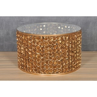 Rose Gold-tone Tempered Glass/ Iron Coffee Table