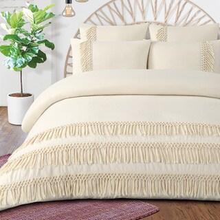 Boho Fringe Organic Cotton Percale Duvet Cover Set (3 Options Available)
