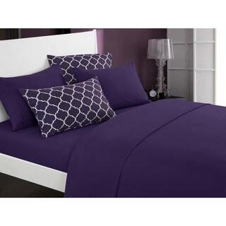 Chic Home Solid Tymon Sheet Set Super Soft with Bonus Printed Geometric Pattern Pillowcases