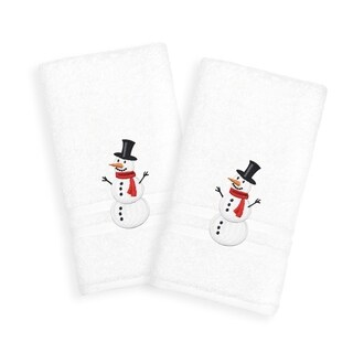 Snowman Embroidered Turkish Cotton Hand Towels (Set of 2)