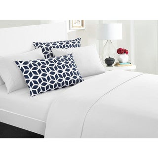 Chic Home Solid White with Davitt 6 Piece Sheet Set Deep Pocket Design - Includes Bonus Printed Navy Pillowcases