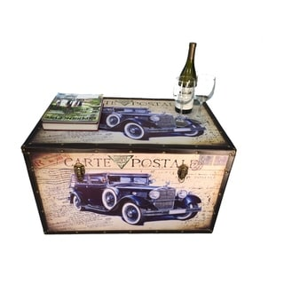 Hot Rod Large Wood Storage Trunk Wooden Treasure Chest