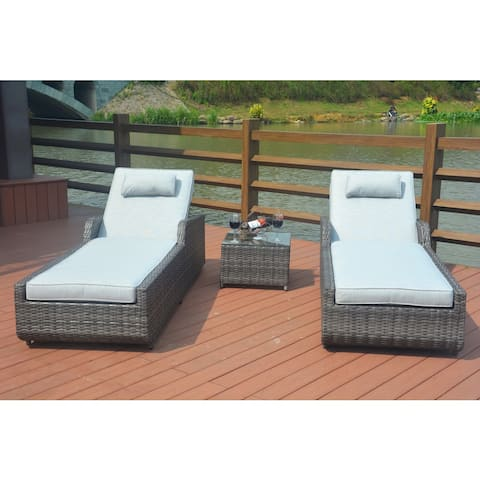 Jamaica 3-piece Grey Wicker Outdoor Adjustable Chaise Lounger Set with Cushion