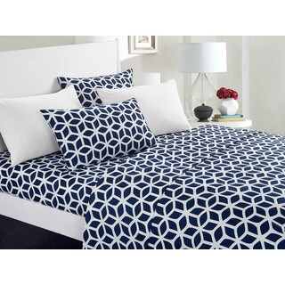 Chic Home Davitt 12 Piece Sheet Set Super Soft Geometric Pattern Print Deep Pocket Design - Includes Bonus Pillowcases