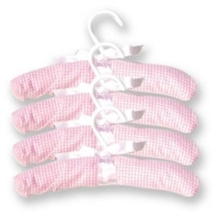 Trend Lab Hangers- 4 Pack Pink Gingham Seersucker
