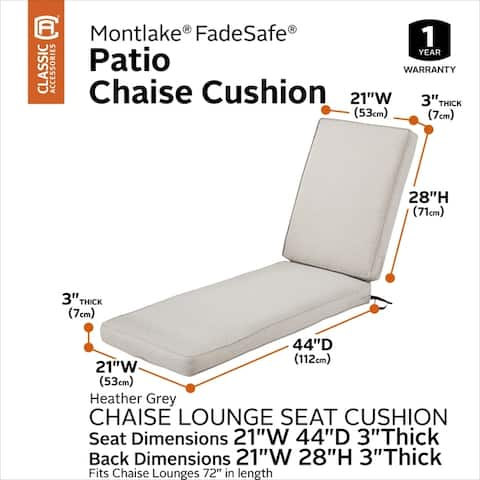 Classic Accessories Montlake Water-Resistant 72 x 21 x 3 Inch Patio Chaise Lounge Cushion