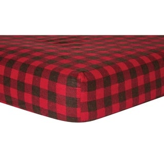 Trend Lab Brown and Red Buffalo Check Deluxe Flannel Fitted Crib Sheet