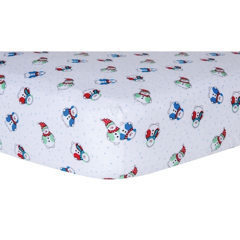 Trend Lab Snowman Deluxe Flannel Fitted Crib Sheet