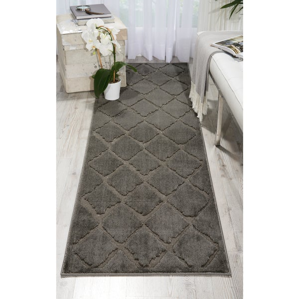 Michael Amini Gleam Grey Runner Rug by Nourison - 2'2 x 7'6