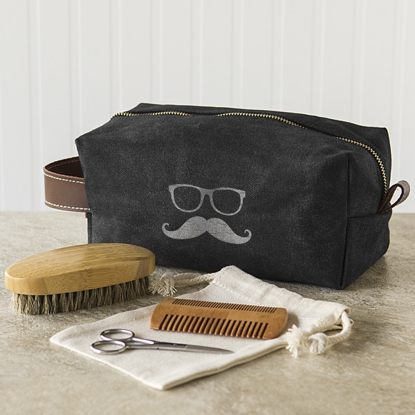 Groomsmen Waxed Canvas and Leather Dopp Kit with Beard Grooming Set