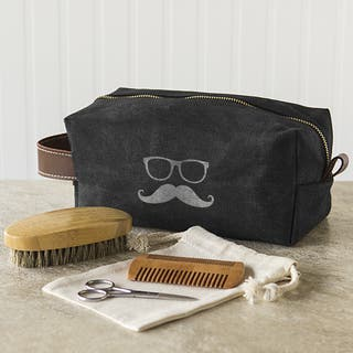 Groomsmen Waxed Canvas and Leather Dopp Kit with Beard Grooming Set https://ak1.ostkcdn.com/images/products/18237809/P24376958.jpg?impolicy=medium
