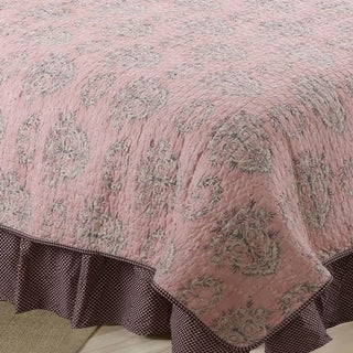 Cotton Tale Nightingale Pink Dot 15-in Drop BedSkirt