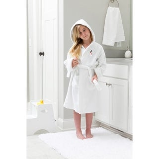 Sweet Kids Snowman Design Turkish Cotton Hooded Terry Bathrobe