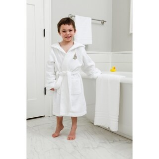 Sweet Kids Christmas Tree Design Turkish Cotton Hooded Terry Bathrobe
