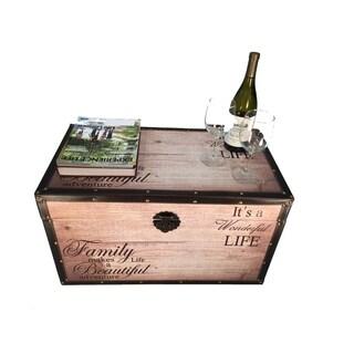 Beautiful Family Medium Wood Storage Trunk Wooden Treasure Chest