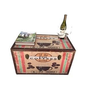 Colombia Coffee Medium Wood Storage Trunk Wooden Treasure Chest