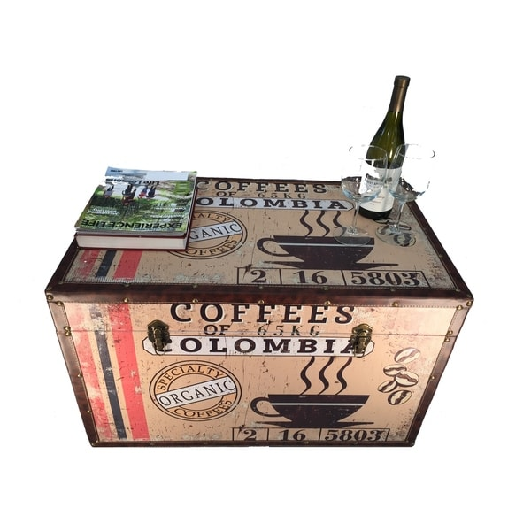 Colombia Coffee Large Wood Storage Trunk Wooden Treasure Chest