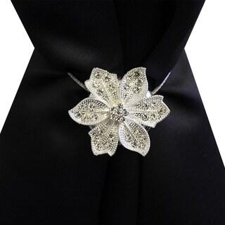 Diamond Star Flower Magnetic Holdback Set of 2 (Silver)