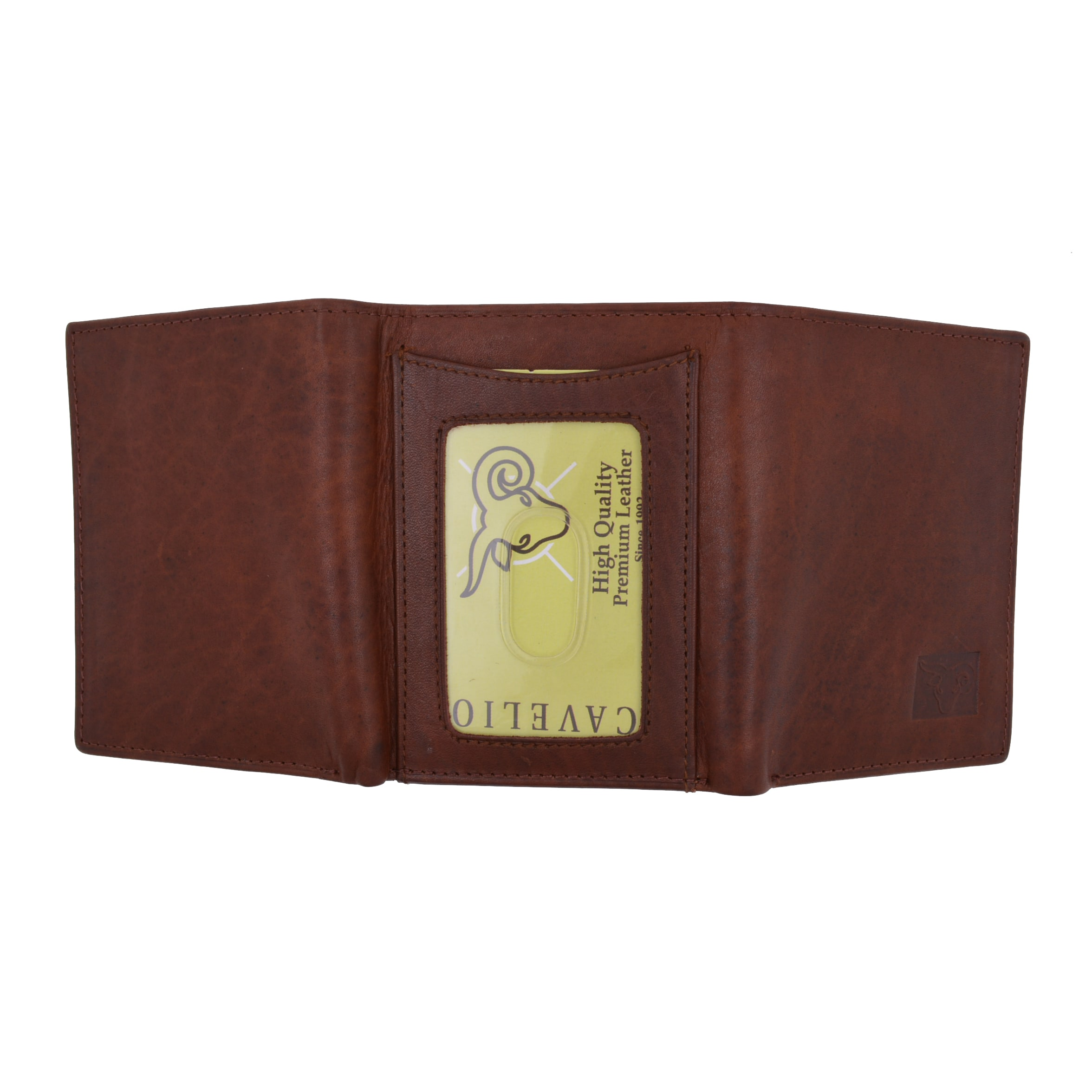 Mens Premium Leather Light Brown Bifold Wallet Middle Flap Credit Card ID Holder