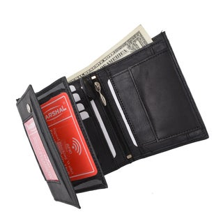 Crocodile Pattern RFID Blocking Premium Leather European Style Bifold Trifold Wallet with ID Window