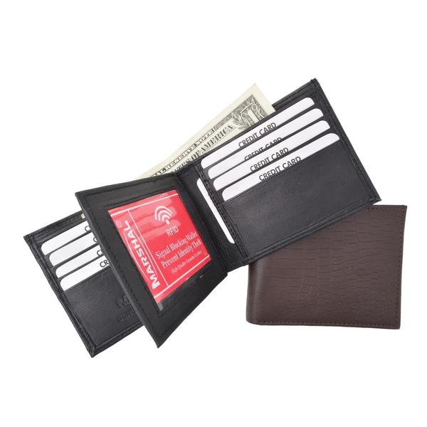 RFID Blocking Premium Leather Men's Multi Card Compact