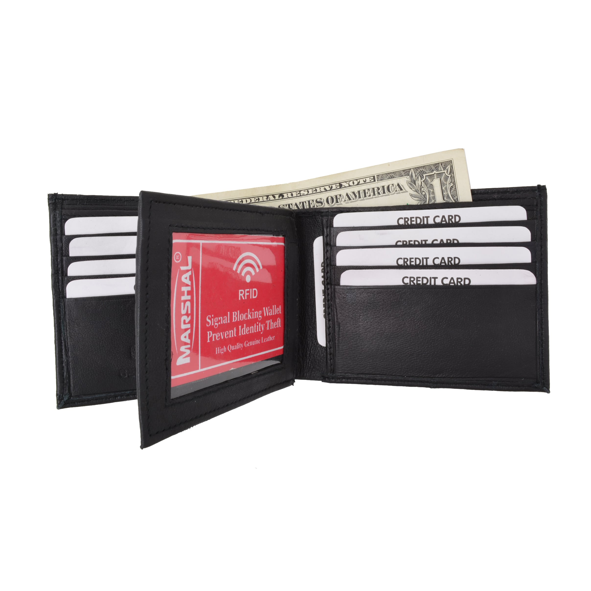 Lambskin Soft Leather Center ID and Credit Card Trifold Wallet by Marshal