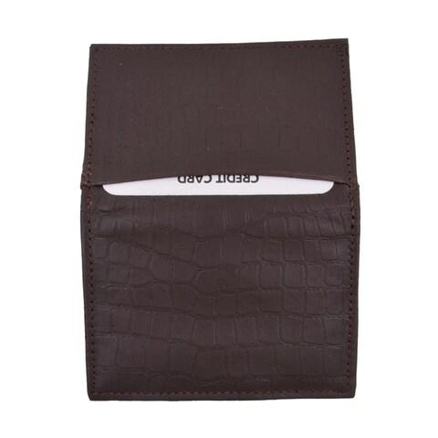 Crocodile Pattern RFID Blocking Premium Soft Leather Business Card Holder with Expandable Pocket