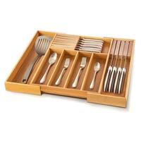 Bambusi Expandable Kitchen Drawer Organizer w/ Knife Block by Belmint