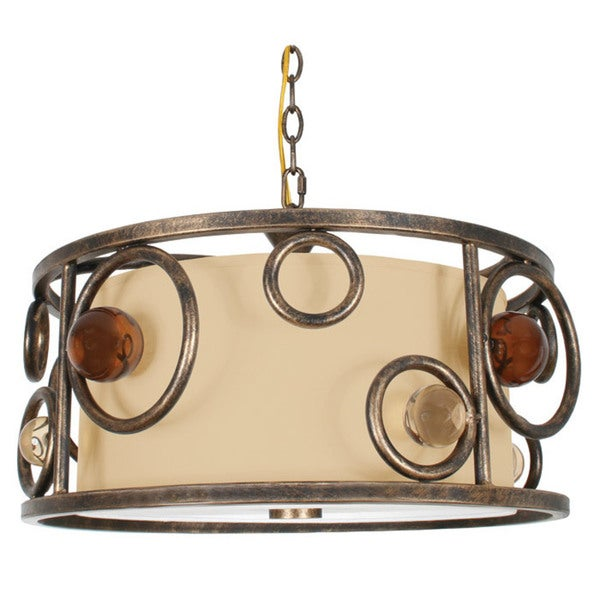 Van Teal Free Wheeling Collection All Wheels Bronze Metal with Acrylic Accents with Tan Linen Shade 3-light Chandelier