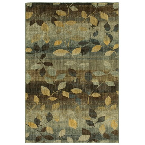 Mohawk Savannah Green/Yellow Floral Area Rug - 9'6x12'11