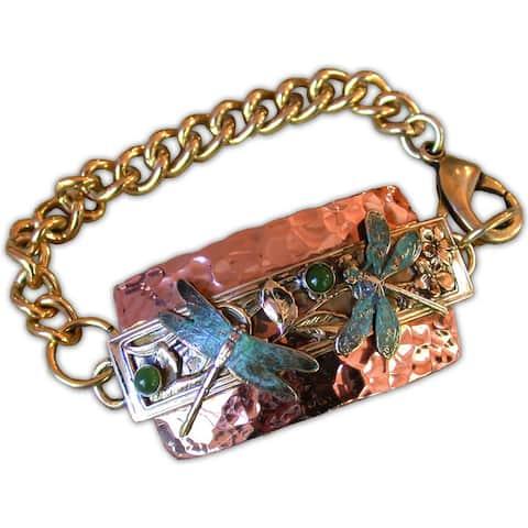 Handmade Copper, Brass Patina Dragonfly ID Bracelet with Jade - Green
