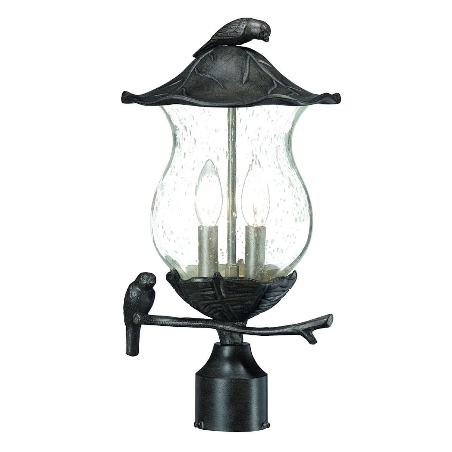 Avian 2-light Black Coral Outdoor Post Mount (2-Light, Black Coral, Clear seeded glass)