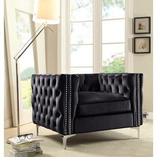 Chic Home Black/ Silvertone Contemporary Button-tufted Club Chair