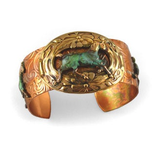 Handmade Verdigris Patina Brass Running Horse on Paisley Embossed Distressed Copper Cuff Bracelet by Elaine Coyne (USA)