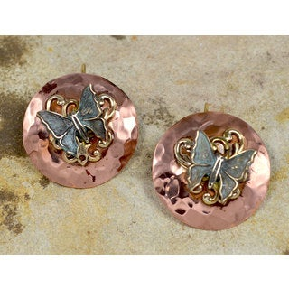 Handmade Verdigris Patina Brass Butterfly on Hand Forged Copper Circle Earrings by Elaine Coyne - Blue (United States)